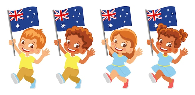 Bandiera dell'australia in mano. bambini che tengono bandiera. bandiera nazionale dell'australia