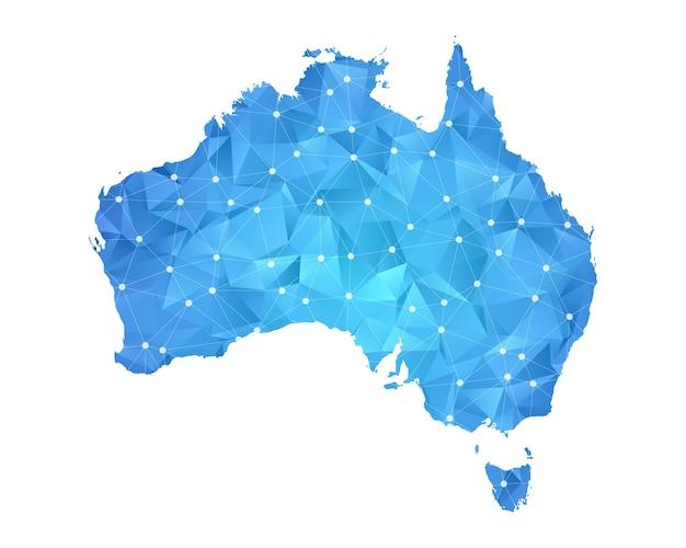 Australia mappa linea punti geometrici astratti poligonali.
