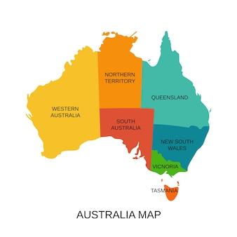 Mappa dell'australia con le regioni. illustrazione vettoriale. territorio dello stato australiano.