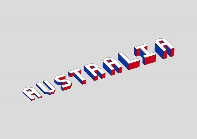 Testo dell'australia con effetto isometrico 3d