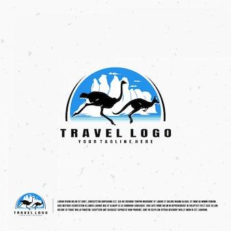 Modello di logo di illustrazione di viaggio australia