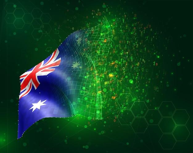 Australia; vettore bandiera 3d su sfondo verde con poligoni e numeri di dati