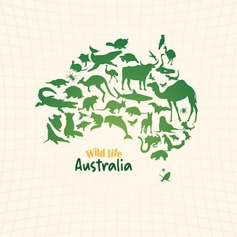 Mappa della fauna selvatica dell'australia con silhouette di animali