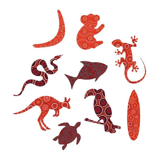 Animali con motivi artistici aborigeni australiani