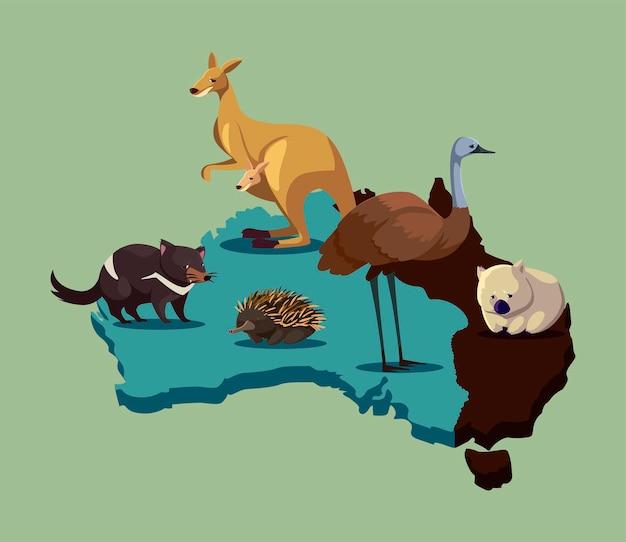 Wildlifemap animale australiano dell'australia con l'illustrazione della fauna selvatica degli animali svegli