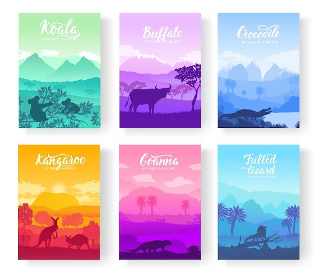 Animali australiani nell'habitat naturale sulla brochure. volantini colorati con fauna selvatica in natura.