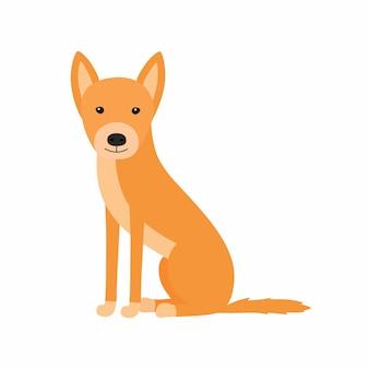 Cane australiano dingo seduto. dingo in piena crescita. illustrazione vettoriale isolato su sfondo bianco.