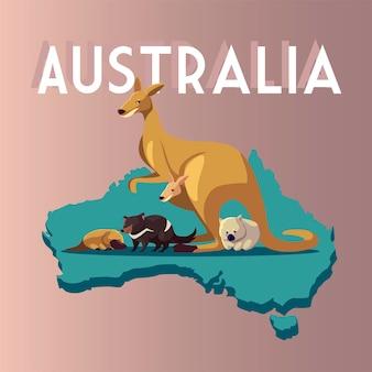 Mappa australiana animali divertenti cartoon illustrazione della fauna selvatica
