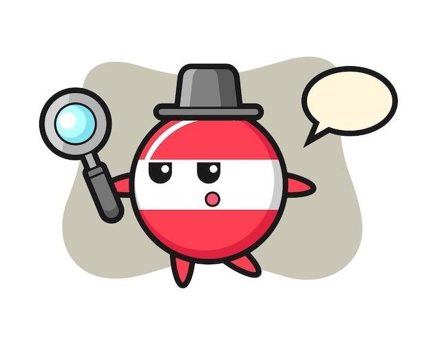 Personaggio dei cartoni animati del distintivo della bandiera dell'austria che cerca con una lente d'ingrandimento