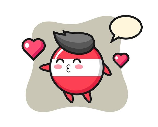 Fumetto del carattere distintivo della bandiera dell'austria con il gesto di bacio