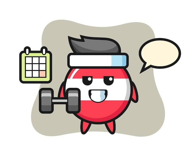 Fumetto della mascotte del distintivo della bandiera dell'austria che fa forma fisica con il dumbbell