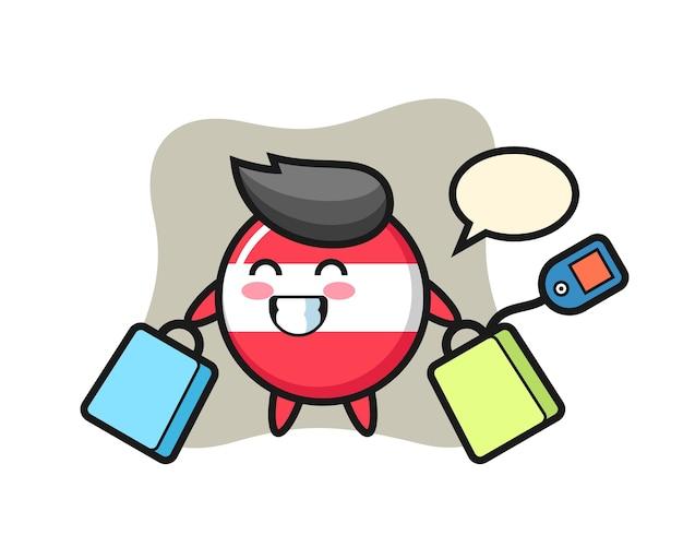Fumetto della mascotte del distintivo della bandiera dell'austria che tiene un sacchetto della spesa