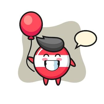 Illustrazione della mascotte del distintivo della bandiera dell'austria sta giocando il pallone