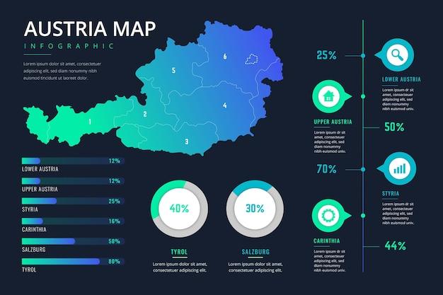 Austria mappa infografica in design piatto