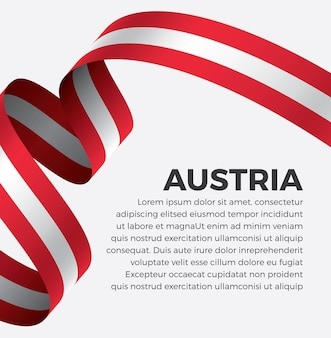 Illustrazione di vettore della bandiera del nastro dell'austria su una priorità bassa bianca vettore premium
