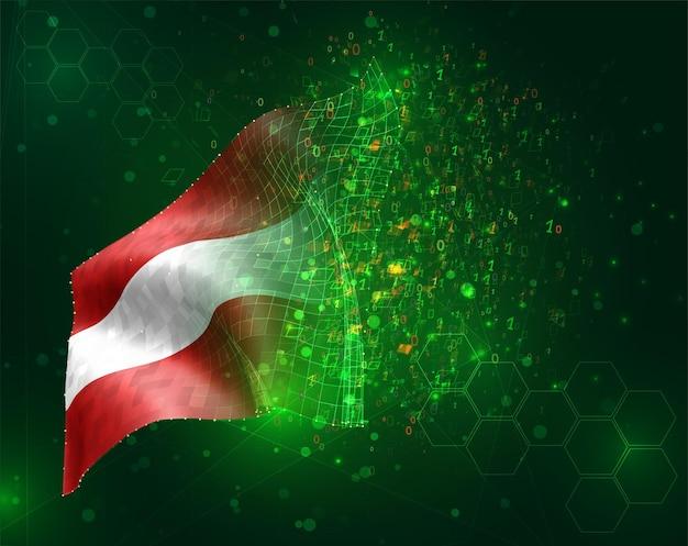 Austria, bandiera 3d vettoriale su sfondo verde con poligoni e numeri di dati