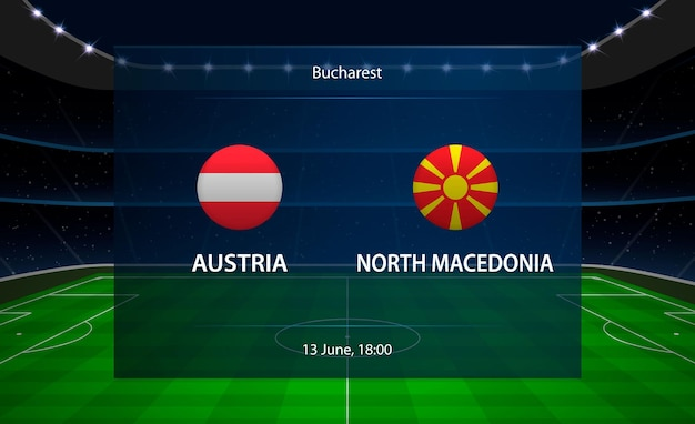 Tabellone segnapunti di calcio austria vs macedonia del nord.