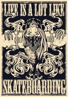 Autentico poster da skateboard in stile monocromatico