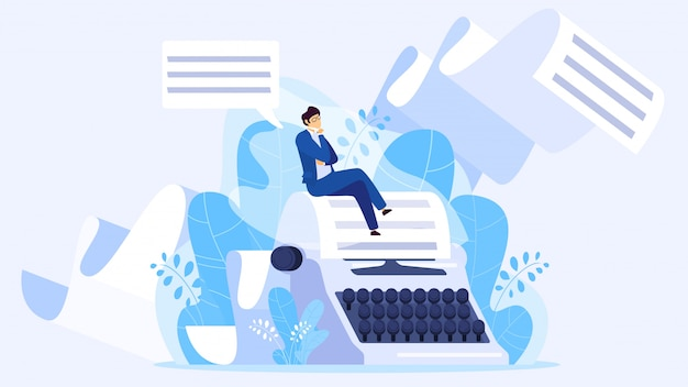 Autore che scrive un libro, minuscolo uomo seduto su una macchina da scrivere enorme, illustrazione