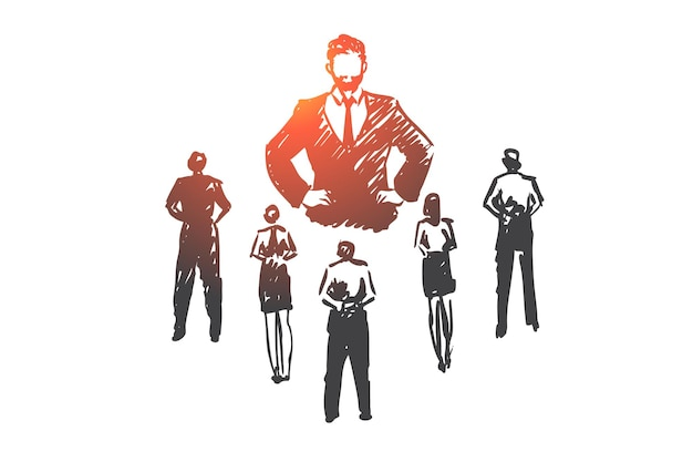 Capo autoritario, lavoro, dittatore, leader, concetto di pressione. schizzo di concetto di capo e subordinati rigoroso disegnato a mano.