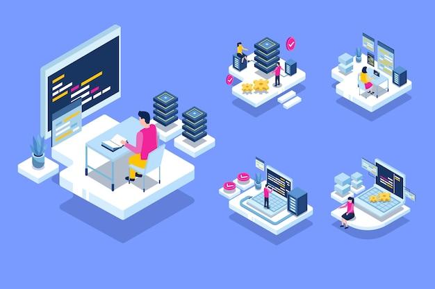 Le autorità che lavorano nella sala del data center che ospita il computer del server, forniscono servizi di informazione per le imprese, illustrazione del concetto isometrico