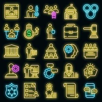 Autorità set di icone vettoriali neon