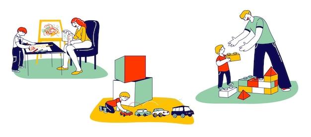 Concetto di autismo. personaggi dei bambini piccoli con disturbo mentale ragazzo che costruisce la torre di blocchi del costruttore, gioca con le automobili. kid esercizio con tutor o insegnante. illustrazione vettoriale di persone lineari