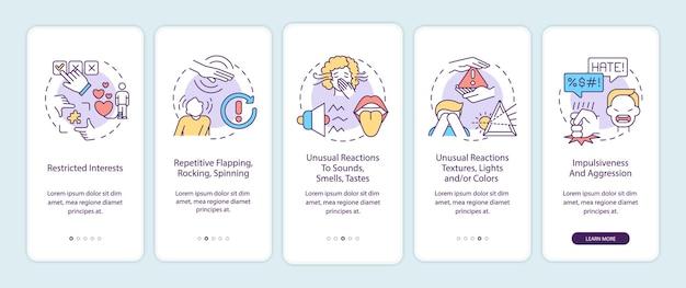 I sintomi dell'autismo nella schermata della pagina dell'app mobile a bordo. interessi restrittivi, guida all'aggressività 5 passaggi istruzioni grafiche con concetti. modello vettoriale ui, ux, gui con illustrazioni a colori lineari