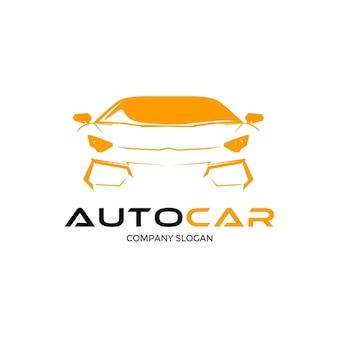 Progettazione di logo auto auto con silhouette di veicolo sportivo concetto