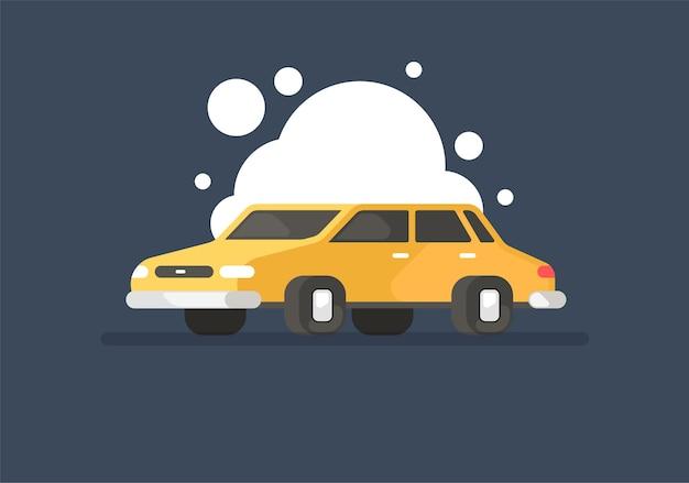 Auto. autolavaggio. modello in stile cartone animato.
