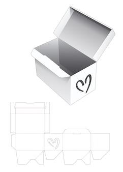 Scatola rettangolare con serratura automatica con modello fustellato a forma di cuore