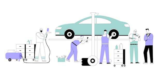 Il meccanico auto redige l'accordo e la fatturazione al cliente nel servizio di auto.