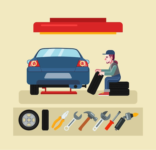 Illustrazione di servizio meccanico auto