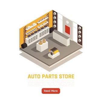 Illustrazione isometrica interna del negozio di ricambi auto