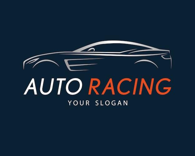 Simbolo di corse automobilistiche su sfondo blu scuro
