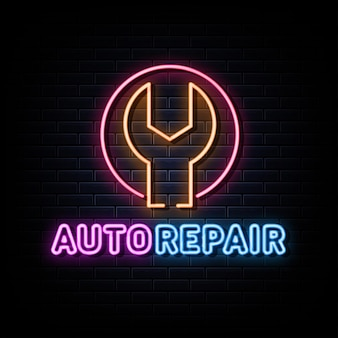 Vettore di logo al neon di riparazione automatica insegna al neon del modello di progettazione