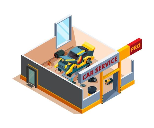 Servizio auto isometrico. dettagli di riparazione garage auto sezione trasversale camera servizio automobilistico interni. servizio di riparazione auto, illustrazione isometrica di manutenzione del garage