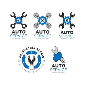 Insieme di progettazione di logo di servizio automatico