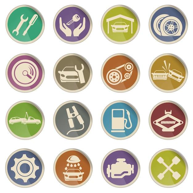 Icone web di vettore di servizio automatico