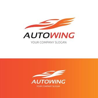 Auto logo ala, modello auto e logo automobilistico.