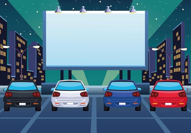 Illustrazione di autocinema e automobili