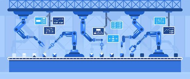 Illustrazione vettoriale piatta della linea di trasporto automatizzata