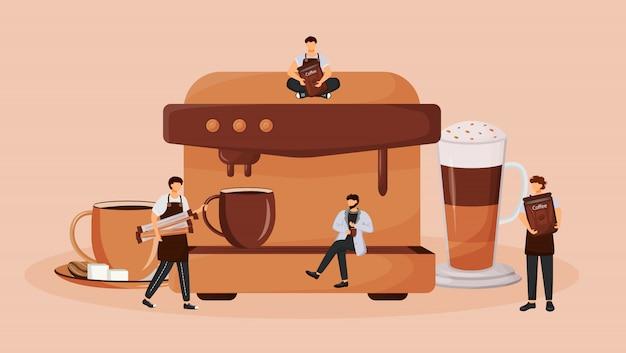Illustrazione piana di concetto della macchina automatica del caffè. preparare il cappuccino. processo di preparazione di bevande calde per espresso. personaggi dei cartoni animati barista 2d per il web design. idea creativa di coffeeshop