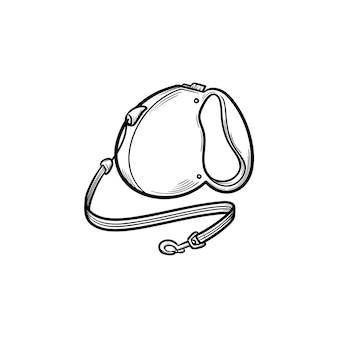 Icona di doodle di contorni disegnati a mano guinzaglio automatico. lineare per cani come concetto di dog walking di sicurezza