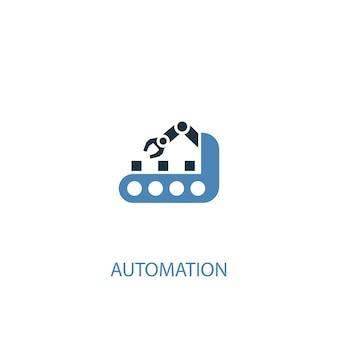 Concetto di automazione 2 icona colorata. illustrazione semplice dell'elemento blu. disegno di simbolo del concetto di automazione. può essere utilizzato per ui/ux mobile e web