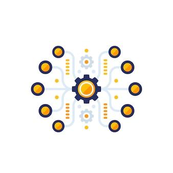 Automazione, illustrazione vettoriale di integrazione software
