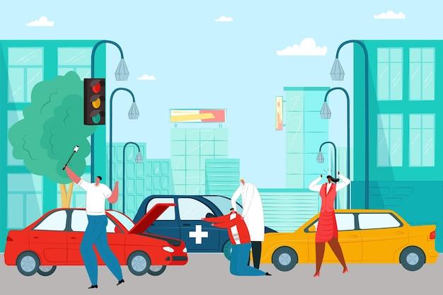 Incidente automobilistico sulla strada della città, medico di professione aiuta l'illustrazione piana di vettore della vittima di incidente d'auto, testimone prende selfie.