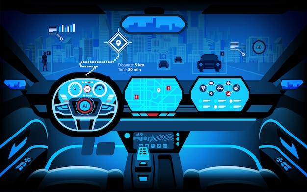 Cabina di pilotaggio auto, vari monitor di informazioni e display head-up. auto autonoma, auto senza conducente, sistema di assistenza alla guida