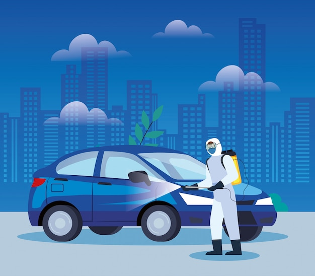 Servizi di disinfezione di automobili per la progettazione dell'illustrazione della malattia di covid 19