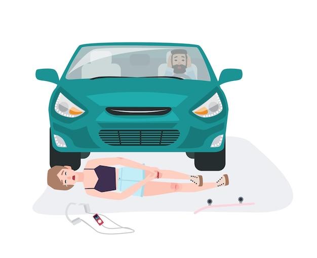 Automobile che abbatte ragazza su skateboard. scontro con lo skateboarder coinvolto. incidente stradale o automobilistico con persona ferita isolata su sfondo bianco. illustrazione di vettore del fumetto piatto.